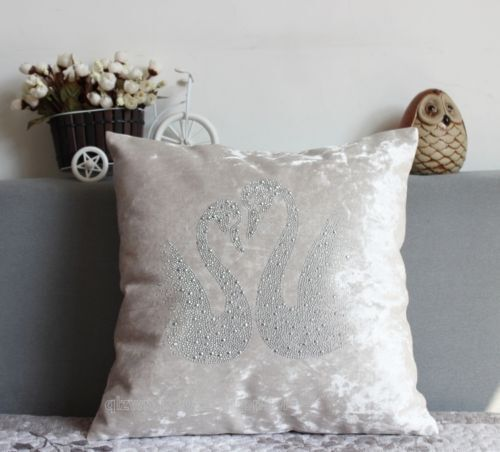 Clinch bolt inlay soft Swan Square Decoration shine pillow Cushion Cover 45 cm
