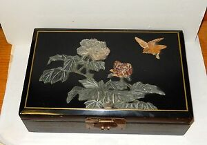Details About Large Chinese Jade Lacquer Fl Bird Mirror Jewelry Box