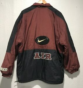 Vintage-Nike-Air-Color-Block-Windbreaker-Jacket-Mens-Size-M-Red-Black-Quilted