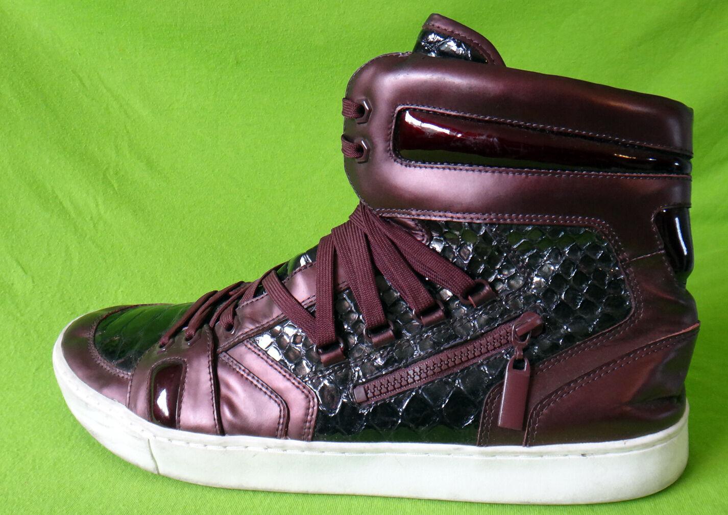 JUMP purple alligator sneaker hi top hip hop patent shiny leather snake zeto 12