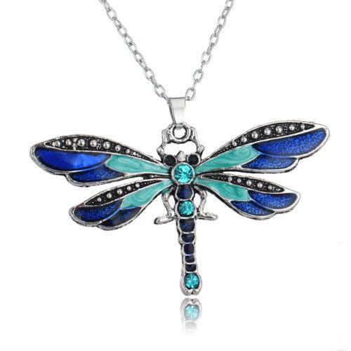 Charm Butterfly Crystal Rhinestone Pendant Necklace Sweater Chain Women Jewelry