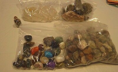 large lot raw polished gemstones rocks collection quartz samples gem loose 5 LBS