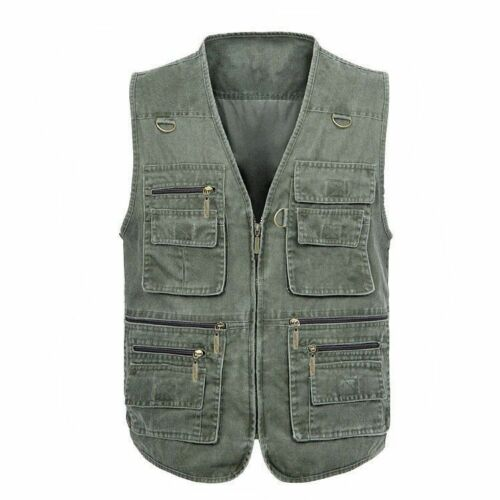 Men Sleeveless Denim Gilet Pockets Vest Waistcoat Outdoor Fishing Travel Hunting