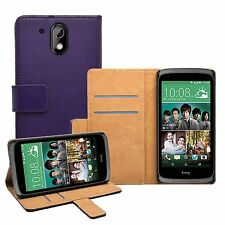 Wallet PURPLE Leather Flip Case Cover Pouch Saver For HTC Desire 526G Dual