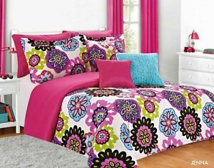 Jenna Teen Girl Comforter Bedding Set Pink Multi Color Floral Twin 5pc Full 7pc