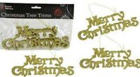Gold Merry Christmas Sign Glitter Christmas Tree Trims Tree Decoration Pack Of 3