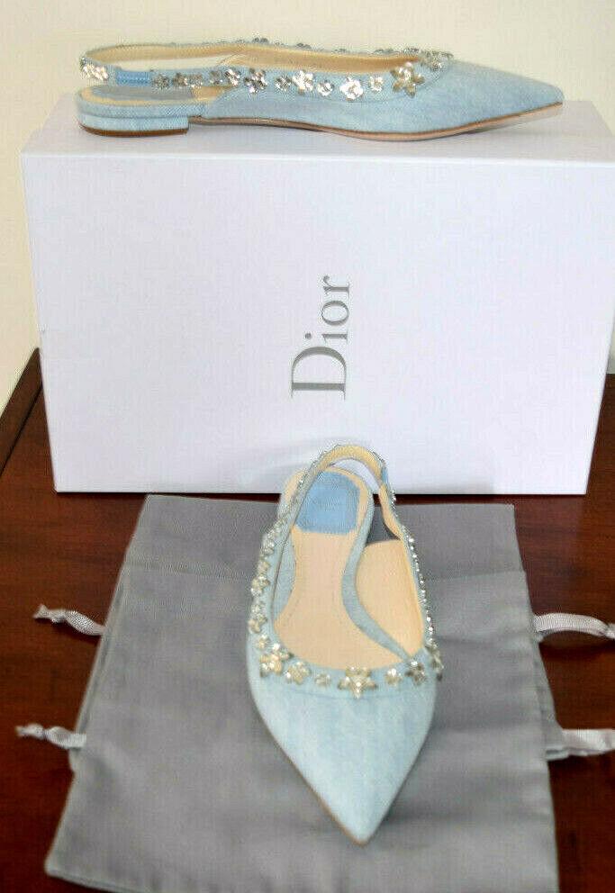 vendita di fama mondiale online Dior Galand 51b Celeste Celeste Celeste Jeans Cristalli Perline Apertura Sul Retro Punta a Punta  la migliore offerta del negozio online