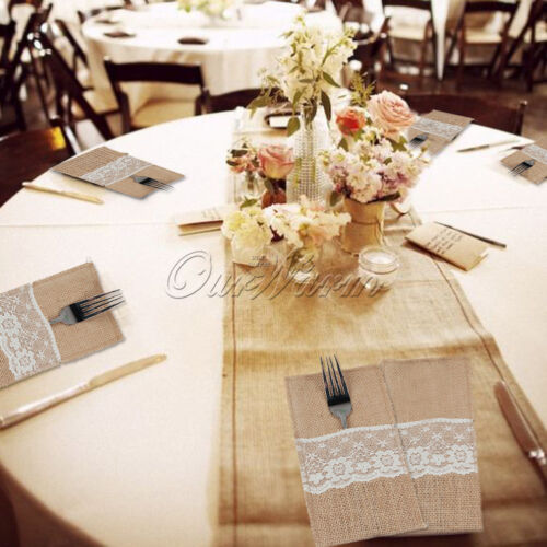 100× Hessian Burlap Lace Cutlery Holder Pouch Bag for Wedding Flatware Storage