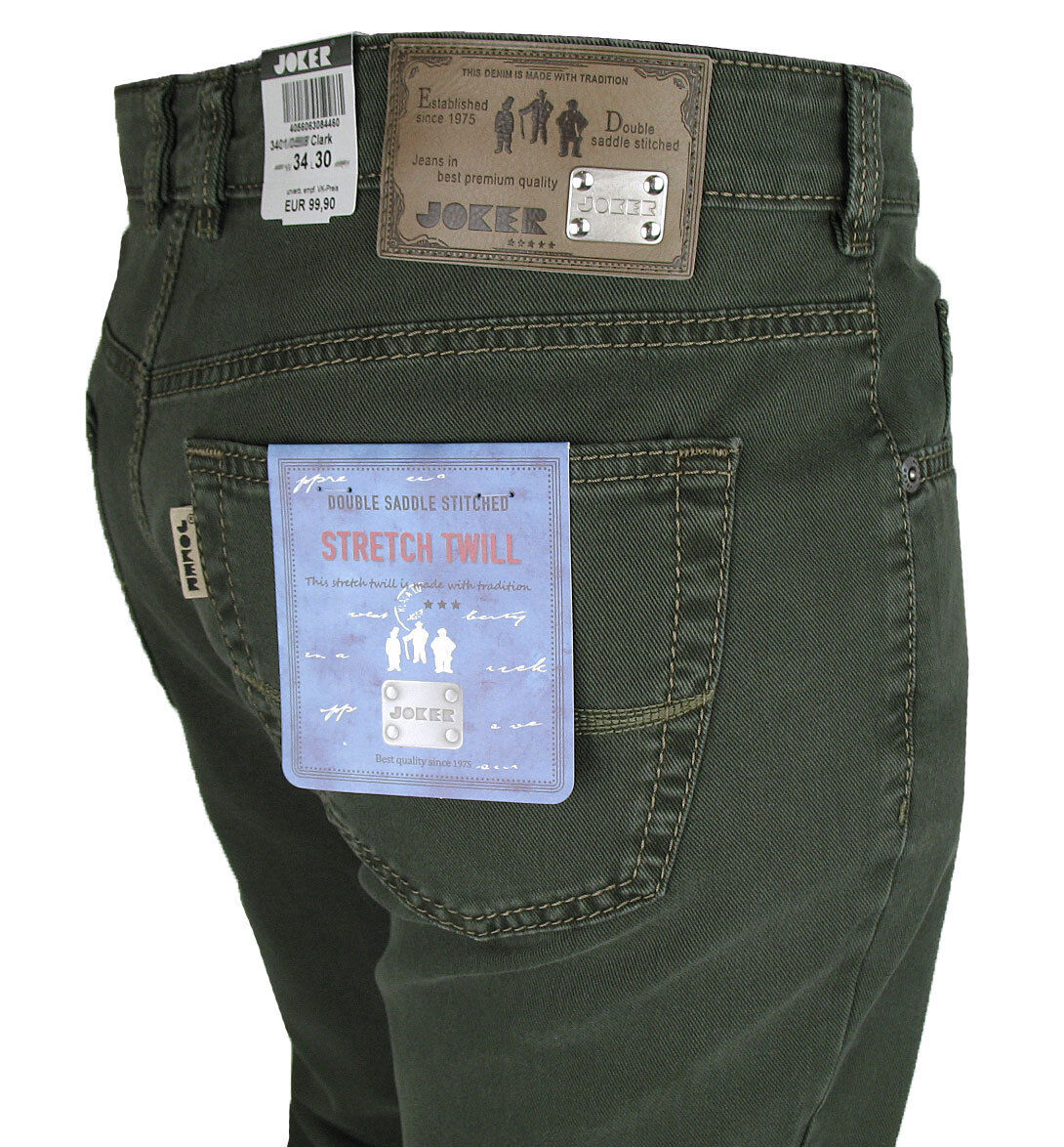 JOKER Jeans   Clark ( Comfort Fit ) 3401  dunkelgreen Twill-Stretch