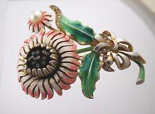Vintage Large Reja Enamel Flower Pin Brooch