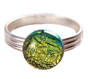 Tiny-Glass-Ring-Adjustable-1-4-034-8mm-Gold-Golden-Yellow-Metallic-Round-Dot