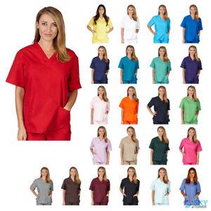 b54eb4f4a45 Unisex Men/Women V-Neck Scrub Top Only Medical Hospital Nursing ...