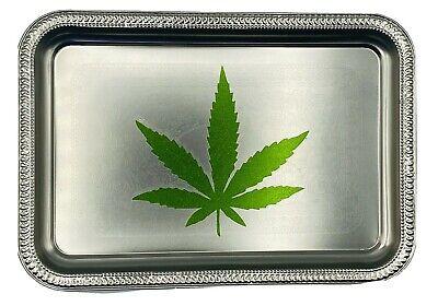 Metal Black Rolling Tray 420 Cannabis Leaf Weed Green Glitter Medium 11x7.5