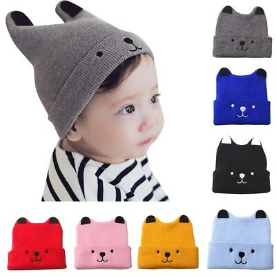 Kids Toddler Children's Yellow Winter Hat Cute Animal Bear Ears Knit Hat wi...