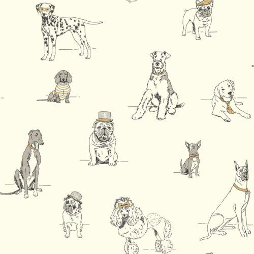 York Wallcoverings AF1938 Ashford Toiles Dog/'s Life Silver//Metallic Gold