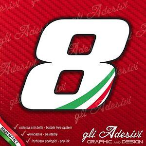 Adesivo Stickers NUMERO 2 moto auto cross gara Bianco /& Tricolore 5 cm