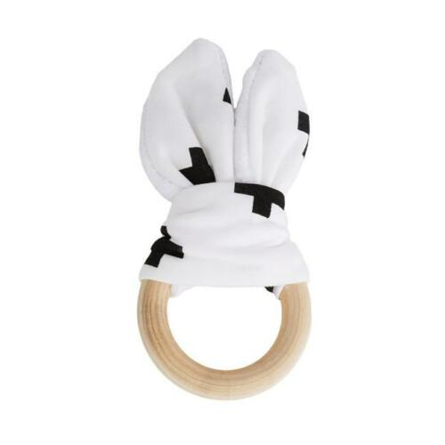Wooden Natural Baby Teething Ring Chew Teether Bunny Sensory Toy Gift YU