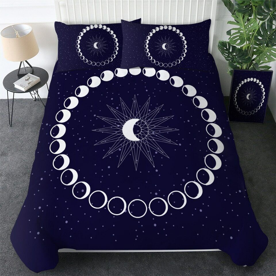 Moon Star Galaxy Blau Weiß 3D Double Single Quilt Duvet Pillow Cover Bed Set