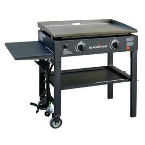 Blackstone Flat Top Grill 28 in. 2-Burner Removable Griddle Top Cart Style Black