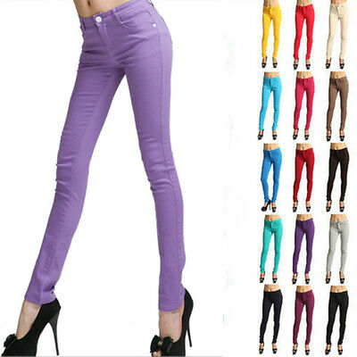 Women Skinny Colorful Jeggings Stretchy Sexy Soft Leggings Pencil Zipper Pants