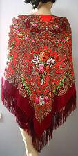 "Russian Floral Shawl 55""/140cm Wool  ""Pavlovo Posad Style"" NWT #102-11 Burgundy"