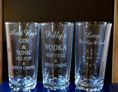 Personalised Engraved Hi ball mixer spirit VODKA AND COKE glass