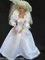 Barbie Doll Sized Victorian Style Sleeved White 3 Piece Wedding Dress Veil Train