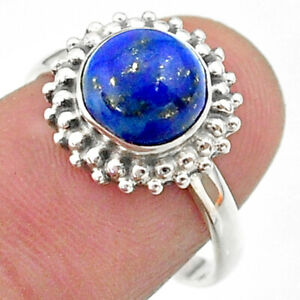 3.08cts Solitaire Natural Blue Lapis Lazuli Round Silver Ring Size 7.5 T41302