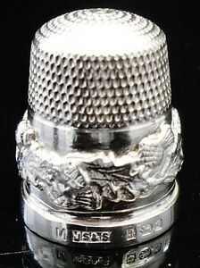 Silver-Thimble-with-Scottish-Thistles-cased-Birmingham-1981-James-Swann