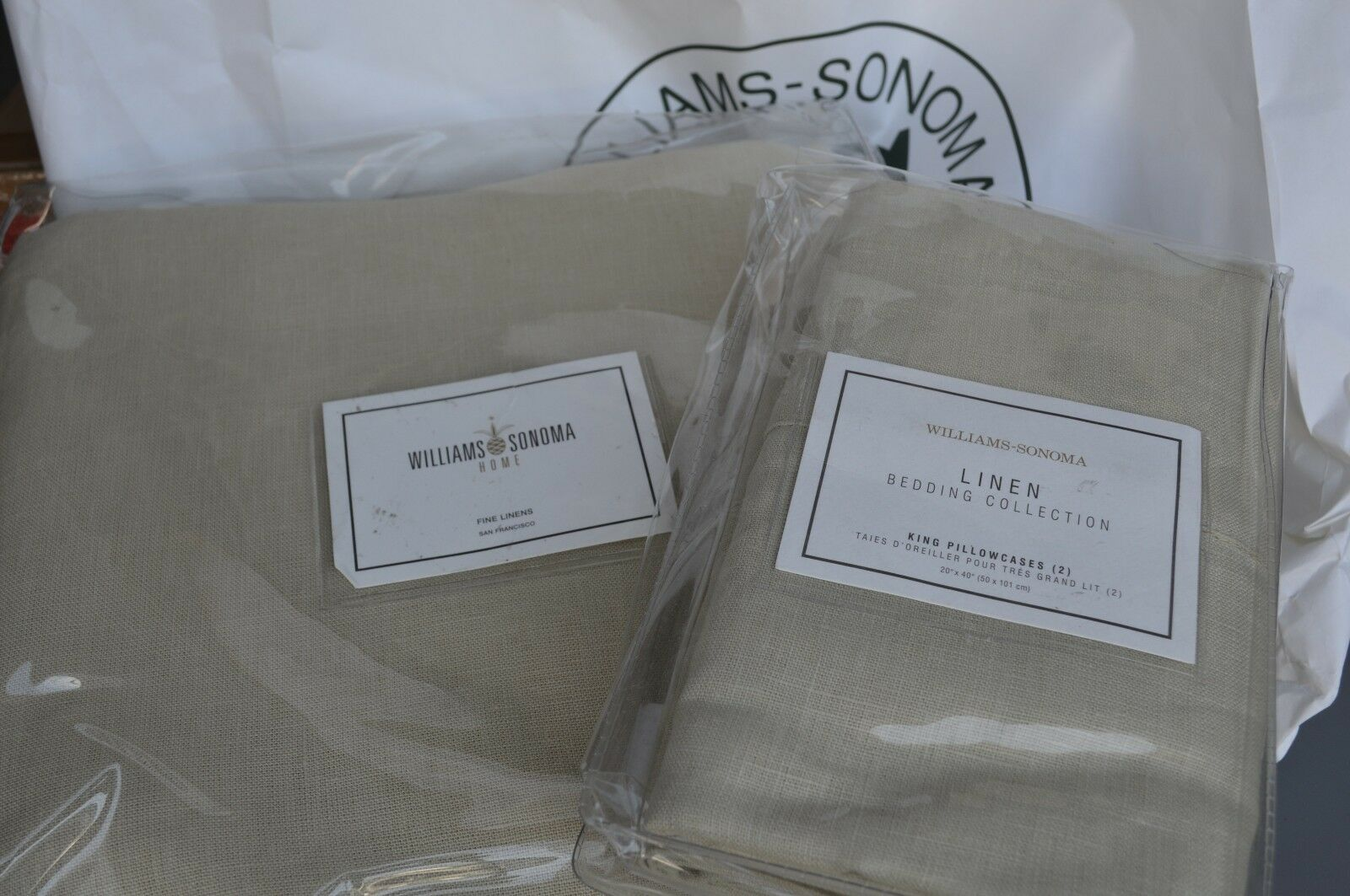 Williams Sonoma Linen Duvet Cover Queen Size + 2 King shams  Natural100% Linen