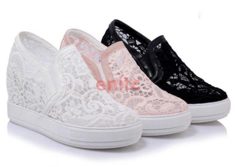 2019 Ladies Lace Floral Hidden Wedge Heels Slip On Sneakers Plus Size shoes UK