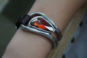 NWT Uno De 50 Orange Elements Crystal HOLA Leather Silver Cuff Bracelet