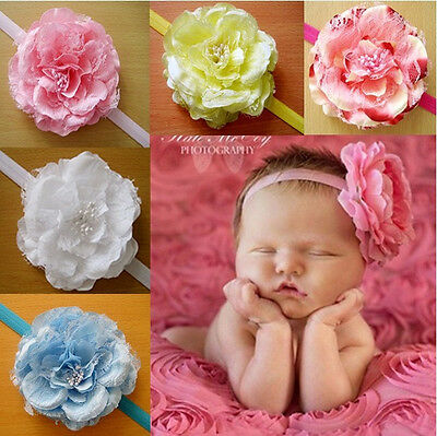 5pcs Baby Girl Kids Toddler Big Peony Flower Headband Hairband Bow Accessories