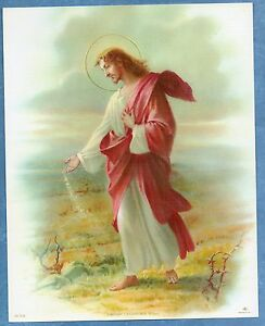 Catholic-Print-Picture-JESUS-Our-LORD-Sowing-Seed-art-by-Simeone-8x10-034-Italy