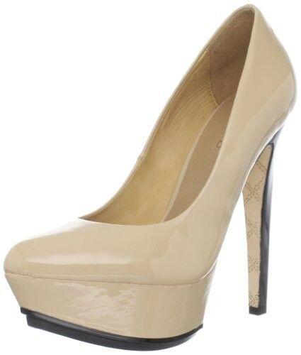 L.A.M.B Gwen Stefani Dolores Beige Patent with schwarz high heels platform