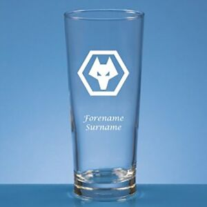 Wolverhampton Wanderers F.C - Personalised Straight Sided Beer Glass (CREST)