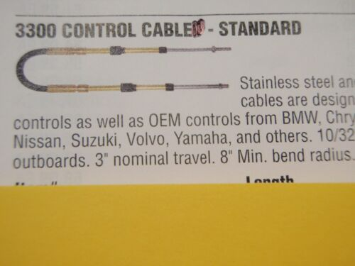 CONTROL CABLE 33 SERIES CC23010 10 FT UNIVERSAL OUTBOARD INBOARD SHIFT THROTTLE
