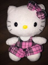 Plüschtier Kuscheltier Stofftier Rosa Pink Weiß Hello Kitty Schleife Kleid Sitzt