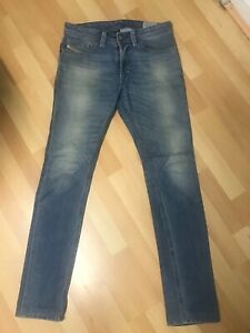 WORN-look-da-Uomo-Diesel-THAVAR-Stretch-Denim-Blu-0842H-SLIM-W29-L32-H6-RRP-150