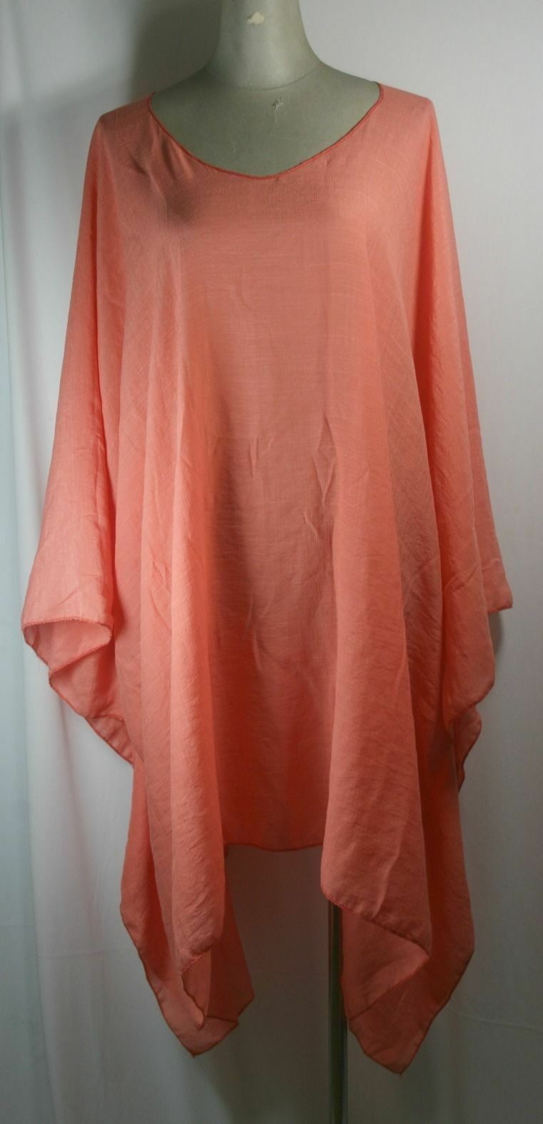 Plus size poncho style top tunic, orange color, size 1X-2X or 3X-4X, handmade