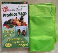 Choice of 20,40,60 Reusable Stay Fresh Green Produce Bags For Fruit & Vegetables
