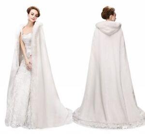 2019 NEW Vintage Bridal Winter Warm Long Wedding Cloak Cape White Faux Fur Cape