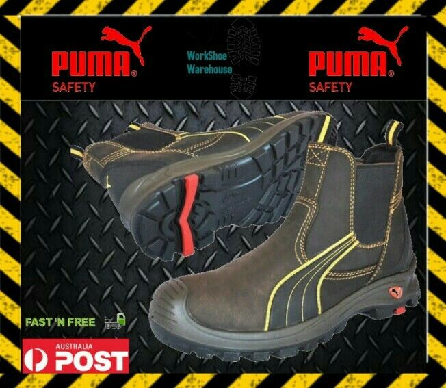 Puma Safety shoes Boot 'Tanami' 630267 Composite Toe Cap Elastic Sided Brown