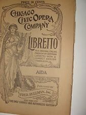 Libretto Aida Verdi, Chicago Civic Opera Co. 1928 Italian English