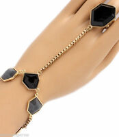 Bracelet W Ring Attached Woman's Ring Women Slave Black Gray Modern