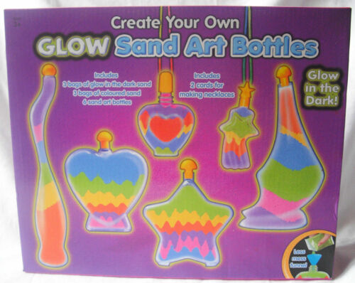 NEW GLOW SAND BOTTLE ART WITH 6 BOTTLES /& GLOW IN THE DARK SAND CRAFT SET TY121