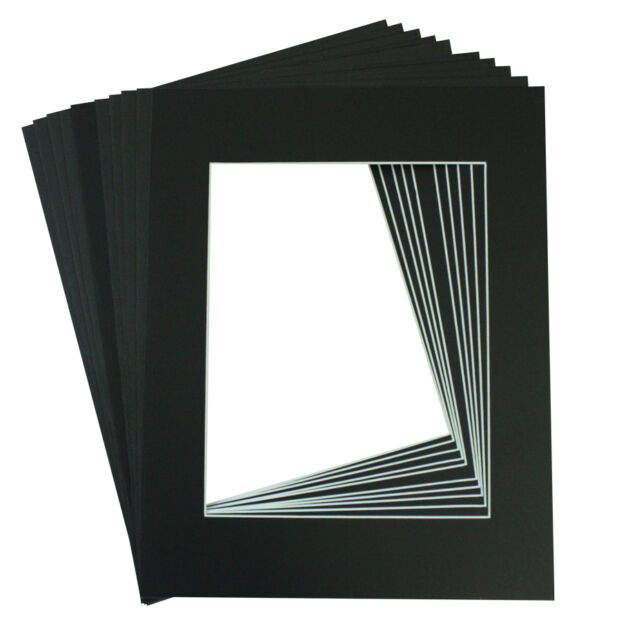 Set of 10 Black 8x10 Picture Mat Matting With White Core Bevel Cut ...