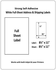 Details about Full Sheet Shipping Labels 8 5 X 11 Self Adhesive USPS UPS  FedEx Amazon FBA