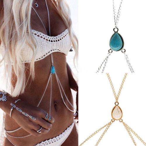 Women Bikini Cross Harness Waist Belly Body Turquoise Chain Jewelry
