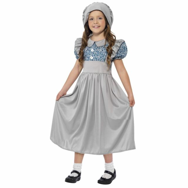 Kids Historical Victorian School Girl Wartime Fancy Dress Book Week Day Costume